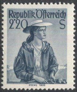 AUSTRIA 1958 Sc 547a (white paper)  2.20s  Ischl Costume issue, MNH, F-VF