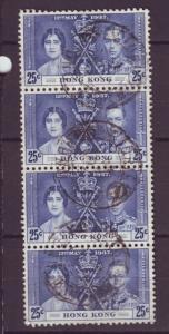 J17462 JLstamps 1937 hong kong hv of set used strip 4 #153 coronation