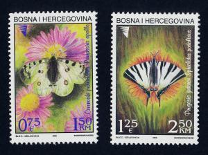 Bosnia & Herzegovina (Muslim) 414-5 MNH Butterflies, Flowers