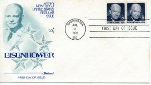 US FDC #1401 Eisenhower Line Pair, Fleetwood (9351)