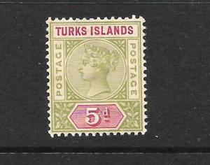 TURKS ISLANDS  1891-95   5d   QV  MH    SG 72