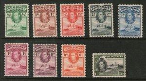 Gold Coast 1938 KGVI Sc 115a-23a perf.12X11.5 MNH