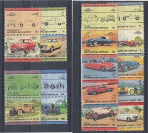 ST. VINCENT GRENADINES (MM282,A)  VF-MH VARc,$ BEQUIA & UNION CLASSIC CARS PAIRS