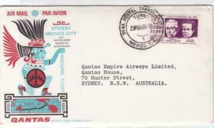 qantas sydney to mexico city 1966  sealed air mail stamps cover ref r15397