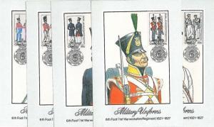 MILITARY UNIFORMS : set of 5 MAXIMUM CARD - CISKEI 1983