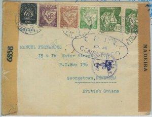 74145 - PORTUGAL - Postal History - CENSORED COVER: MADEIRA to BRITISH GUYANA