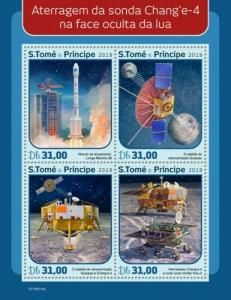 St Thomas - 2019 Chang'e 4 Mission - 4 Stamp Sheet - ST190114a