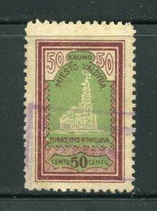 x82 - LITHUANIA Kaunas 1920s Municipal REVENUE Stamp. Used. Fiscal