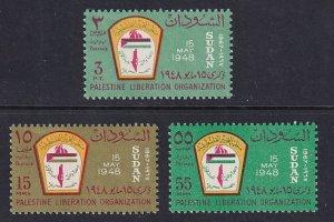 Sudan  #203-205   MNH  1967  Emblem Palestine Organisation