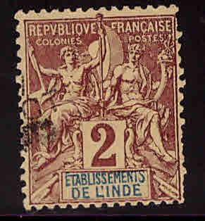 FRENCH INDIA  Scott 2 Used 1892 Navigation and Commerce stamp