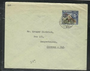 MALTA COVER (P0506B) 1956 KGVI 4 1/2D SG COVER COSPICUA TO DDR GERMANY