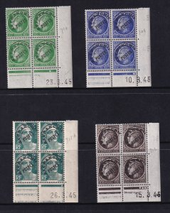 France 1945-47, CERES & MARIANNE Precancel corner date Blocks MNH # 528,30,33,36