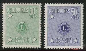 US Philippine Islands Scott C71-72 MH* Lions intl set