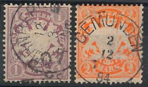 66210 - BAYERN - Very Fine USED STAMPS: Michel # 43/44
