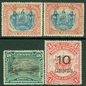 EDW1949SELL : NORTH BORNEO 1894-97 Scott #66, 75, 88, 90. 4 Better sgls. VF, MOG