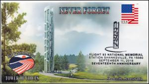 18-205, 2018, Flight 93, Pictorial Postmark, 9-11, Shanksville PA, Event Cover
