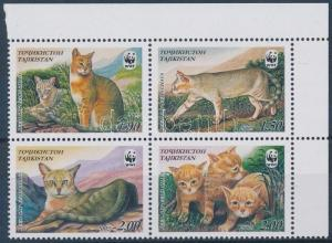 Tajikistan stamp WWF Wild cat corner block of 4 MNH 2002 Mi 208-211 WS130570