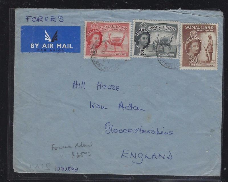SOMALILAND COVER (P0412B) 1954   QEII 5C+20C+30C   A/M TO ENGLAND