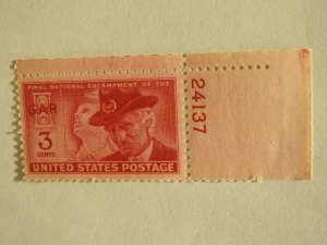 U. S. #985  Mint single with plate number  OG  NH
