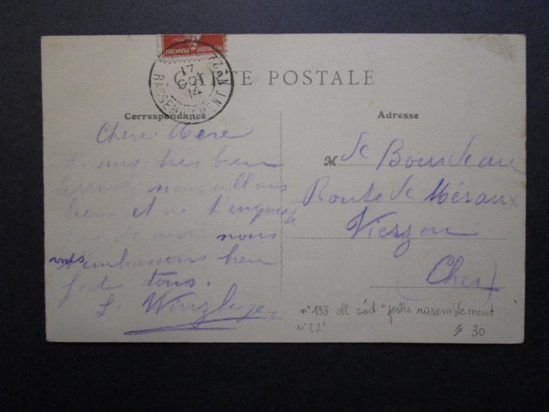 France 1914 Army Assembly Station No 22 Cancel on Postcard  - Z7115