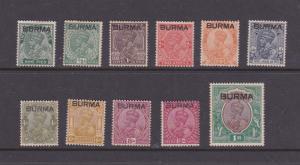 Burma 1937 Sc KGV Sc 1-6,8-13 MH