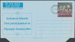 SOLOMON IS 25c aerogramme - 1984 Olympic Games opt - First day cancel.......L160