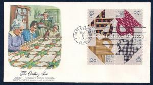 UNITED STATES FDC 13¢ American Quilts BLK 1978 Fleetwood