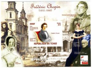Chad 2010 Frederic CHOPIN Polish Composer by M.Wodzinski s/s Perforated Mint NH