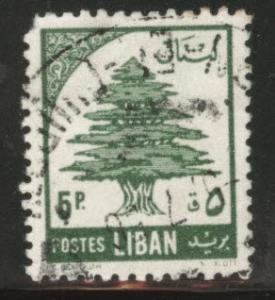 LEBANON Scott 299 used 1955 cedar tree stamp
