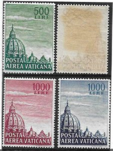 1953    VATICAN CITY  -  SG. 190 / 191a  - AIRMAIL WITH DISCOLOURED GUM  -  MNH