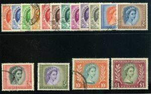 Rhodesia & Nyasaland 1954 QEII set complete very fine used. SG 1-15. Sc 141-155.