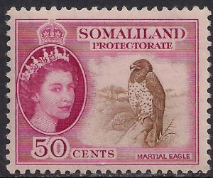 Somaliland 1953 - 58 QE2 50 ct Brown & Carmine MM SG 143 ( R1027 )