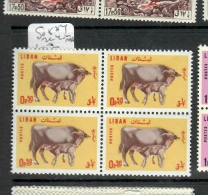 LEBANON (P0106B) COW   .50P  BL OF 4  SG 884   MNH