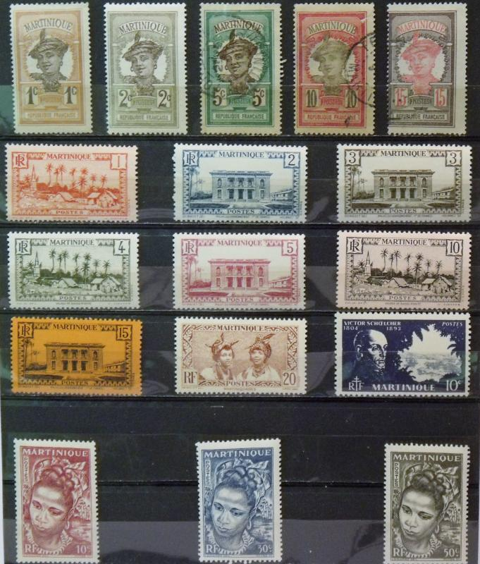 MARTINIQUE  MH & Used # 62,63,65,67,70,133-40,198,217-22,224-27,J38   CV$ 12.60