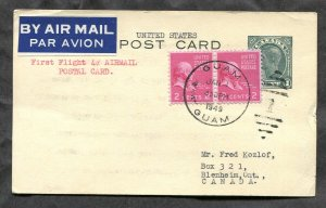 2388 - First Flight 4c Rate GUAM to CANADA 1949 Dual Franking Postal Card