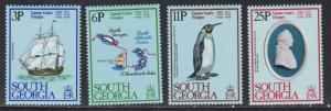 South Georgia # 52-55, Capt. Cooks Voyages - Penguin, NH, 1/2 Cat.