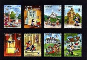 ST VINCENT - 1989 - DISNEY - MICKEY - US MONUMENTS - EXPO - 8 X MINT MNH SET!