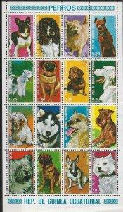 1977 Equatorial Guinea   Dogs  Souvenir Sheet  SC#1314-1329