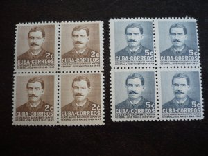 Stamps - Cuba - Scott# 471-472 - Mint Hinged Set of 2 Stamps in  Block of 4