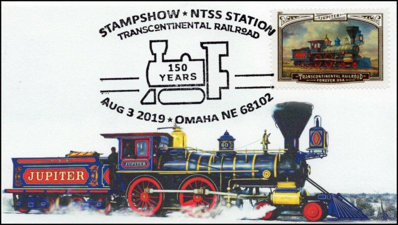 19-237, 2019, Trans Continental Railroad, Pictorial Postmark, Event, Jupiter, Om