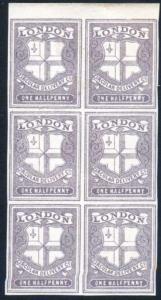 CD27 1/2d Deep Dull Purple London Circular Delivery Block 6 Mint No Gum