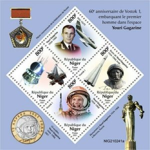 2021/06- NIGER -  SPACE VOSTOK 1          4V    MNH **