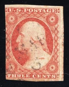 US#11 3c Rose Red, Type I - (Var.)Gash on Shoulder - Light Cancel
