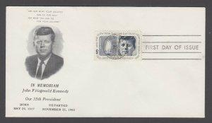 US Planty 1246-159 FDC. 1964 5c JFK, black printed cachet, unaddressed