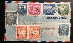 1936 Ambulant Post Office Chile Airmail Cover to Zurich Switzerland