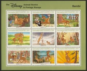 Grenada Grenadines 986-91 MNH Disney, Animal Stories, Elephant, Train, Dogs, Cat