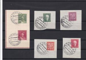 Czechoslovakia 1933 Prague Cancels and Stamps on Piece Ref 23167