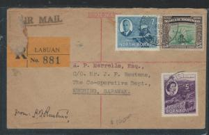 LABUAN (P2707B) 1955 NORTH BORNEO 20C+ KGVI 2C+QEII 5C REC TO SARAWAK