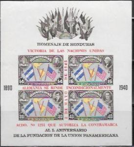 Honduras Souvenir Sheet  Pan-Americana  #C154 overprint. Imperf.