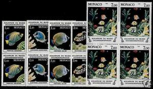 Monaco 1481-5 Blocks of 4 MNH Fish, Marine Life
